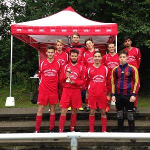 "Stadtpark-Pokal 2015: die Siegermannschaft ""Super Kickers""."