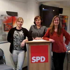 Von links nach rechts: Die Initiatorinnen des Frauenfrühstücks der Remscheider SPD: Christine Krupp, Ulla Wilberg und Dr. Stefanie Bluth.