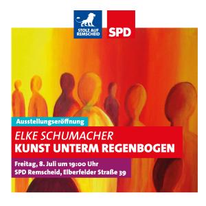 """Einladung zur Ausstellung """"Kunst unterm Regenbogen"""" der Remscheiderin Elke Schumacher."""