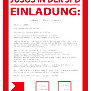 Einladung zum Ehemaligentreffen der 1972er Jusos am 20.11.2016.