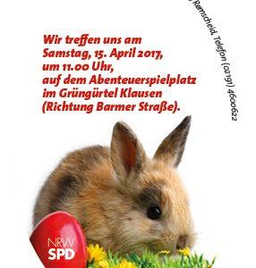 Die Lüttringhauser SPD lädt am 15. April 2017 um 11:00 Uhr zur Ostereiersuche auf den Spielplatz im Grüngürtel Klausen an der Barmer Straße 65 ein.