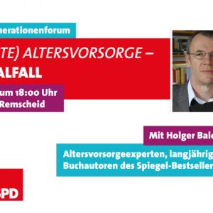 """Einladung zum Generationentalk der SPD-Jugend und der SPD-Senioren zu """"Die geklaute Altersvorsorge?"""" am 28.06.2017 um 18:00 Uhr im """"Neuen Lindenhof"""" an der Honsberger Straße 38 in Remscheid."""
