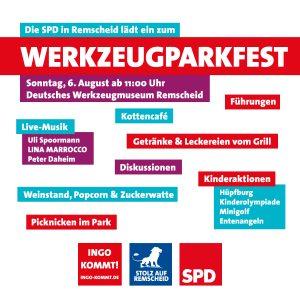 Auf dem Bild sehen sie die Einladungsgrafik zum Werkzeugparkfest der Remscheider SPD am 06.08.2017.